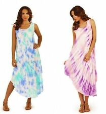Pink White Blue Watercolour Summer Holiday Beach Slip on Tunic Dress Cover Up