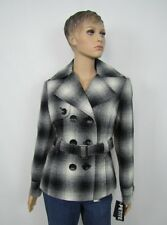 MAC womens coat plaid double breasted belted petite size PL NEW