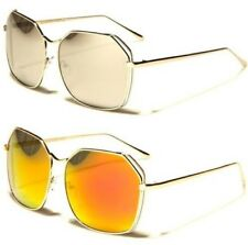 DESIGNER LARGE OVER SIZED SUNGLASSES VINTAGE FLAT MIRROR RETRO BIG LADIES WOMENS