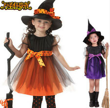 Witch Hallowm Girls Halloween Fancy Dress Costume Outfit+Hat Lovely Cosplay