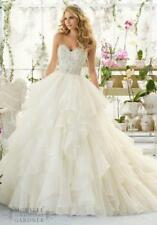 New White Ivory Appliques Beads Tiered Wedding Dress 2 4 6 8 10 12 14 16 18 K236