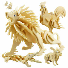 17 3D Puzzle Wooden Animal Model Jigsaw Craft Decor Education DIY Kids Toys Gift