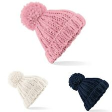 Beechfield BC483 Pom Pom Oversized Winter Warm Chunky Hand Knitted Beanie Hat