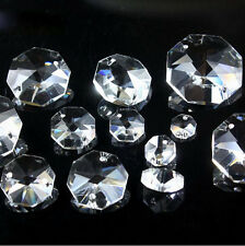 1000x  8mm-14mm 2Hole Octagon Crystal Chandelier Lamp Chain Part Replace Prism