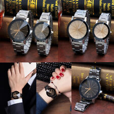 Fashion Retro Couple Watch Stainless Steel Men Women Quartz Analog Wrist Watches