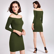Alisa Pan Womens Slim Off The Shoulder Bodycon Party Knit Short Sweater Dress