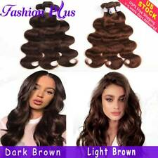 Brazilian Hair 3/4 Bundles Brown Body Wave Human Remy Hair Extensions Weave Weft