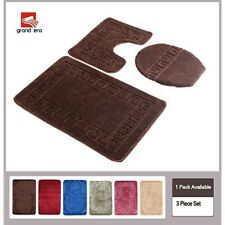 3 Piece Bathroom Rugs Machine Washable Rug Bath Mat Set Toilet Lid Cover Brown