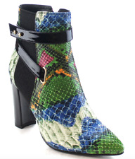 NEW Machi Skyler Pointed Toe High Heel Buckled MultiColor Snake Ankle Boots