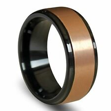 Raised Brushed Rose Gold Center Tungsten Carbide Ring with Polished Step Edges
