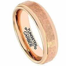 Ring for Men Tungsten Carbide Rose Gold Plated Wedding Engagement Band 6mm Handc