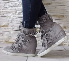 Ladies Light Grey Mid Heel Wedge High Top Ankle Trainers Lace Up Sneakers Boots