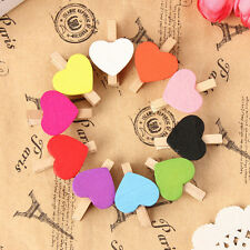 10/20/50/100pcs Mini Hearts Wooden Pegs Photo Clips Xmas Weddings Party^~^