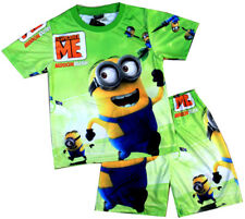 NEW SIZE 3-8 KIDS BOYS PYJAMAS MINION DESPICABLE ME PJS SLEEPWEAR SHIRT SUMMER