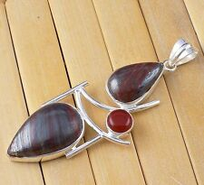 Natural Iron Tiger Eye Cabochon Gemstone 925 Sterling Silver Women Pendant