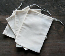 Cotton Muslin Bags with White Hem and White Drawstrings - 4 Sizes of bags