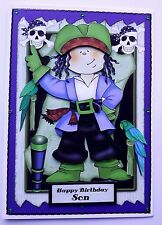 HANDMADE PIRATE 3D BIRTHDAY CARD FOR ANY RELATIVE OR NAME