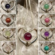 Gemstone Heart Necklace Sterling Silver Pendant Celestial Jewellery - Choices