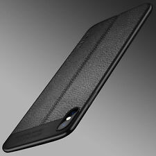 For iPhone X Ultra Thin Luxury Genuine PU Leather Soft TPU Shockproof Case Cover