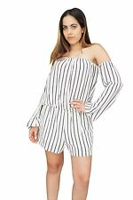 ROMPER SHORTS HALTER TOP LONG SLEEVES STRIPED HALTER TOP JUMPSUIT WHITE NAVY BLK