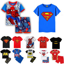 Kids Boy Superhero Spiderman Batman Shirts Outfits Set Cartoon Pajamas Tracksuit