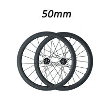 Track fixed gear 700C 50mm Depth Tubular Road Bike Racing Matte Carbon Wheelset