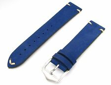 20 22 24mm Man Lady Blue Suede Wrist Watchband Strap Belt with Polished Buckle