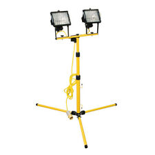 Tripod Site Lights, Telescopic Stand Single/Twin 110v - Halogen Bulbs Included