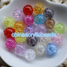 Wholesale Mix 100pcs Crystal Crack Acrylic Round Loose Spacer Beads Charm 8-20MM