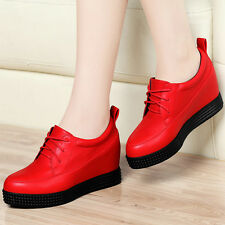 Girls Womens Platform Wedge 4 CM Hidden Height Heel Sneaker Shoes Soft