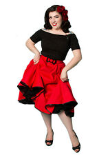 NEW Rockabilly 50s Swing Skirt Vintage Full Circle Miss Fortune RED Skirt - XS-L