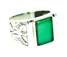 EAGLE DESIGN NATURAL GREEN ONYX 925 STERLING SILVER MENS RING #0112