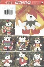 Butterick 4604 Christmas Bear Ornaments    Sewing Pattern