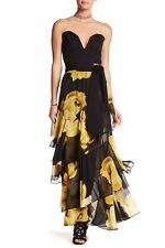 TOV HOLY Tiered Floral Maxi Skirt - Yellow/Black NWT Sizes Medium  Large