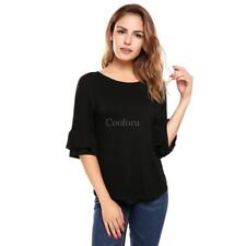 Women Casual Ruffle Sleeve Round Hemline O Neck Solid Loose Pullover CO99