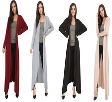 Women's Long Sleeve Floaty Open Front Maxi Cardigan Kimono Jacket Coat UK