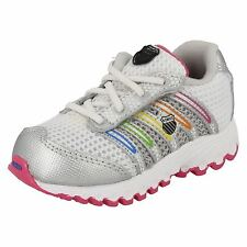 K-Swiss Run 100 Mesh Infants Unisex White/Multi Lace-Up Tubes Trainers(R30B)(Kt)