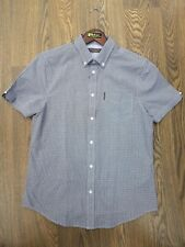 MENS BEN SHERMAN SHORT SLEEVE CHECK SHIRT *0049949* IN NAVY AND WHITE