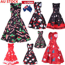 AU Women Christmas Santa Claus A Line Dress Sleeveless Evening Party Swing Dress