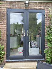Black uPVC French Doors - Made to Measure - Chrome handles, Silver spacer bars