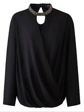 Ladies Black & Embellished Tab Neck Wrap Over Blouse Size 12, 20 & 30