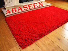 ABASEEN SMALL & LARGE SIZE PLAIN SOFT SHAGGY (RED) NON SHED 7mm PILE MODERN RUG