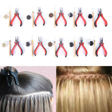 Pro Silicone Micro Rings Beads Feather Hair Extension Tools Set Pliers Hook QP