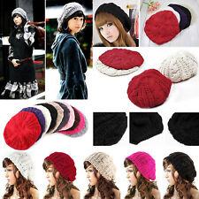 Women Lady Beret Braided Baggy Knit Crochet Beanie Hat Ski Cap Winter Warm Cap