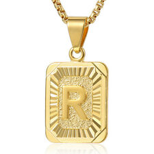 """18-24"""" MENS WOMENS Yellow Gold Filled Initial Letter A-Z Pendant Chain Necklace"""