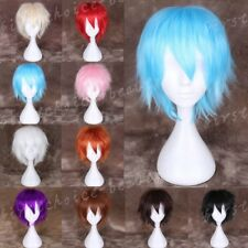 Synthetic Hair Short Straight Full Wig Cosplay Party Costume Orange Black Blue &