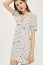 New - Topshop Ditsy Floral Print Tea Dress - Pale Blue UK 6 8 10 12 14 16 18