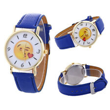 Fashion 1 Pcs Watches Women Quartz Expression Casual Cute Leather Watch Patterns