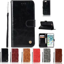 For iPhone X 6 7 8 Plus Genuine Leather Wallet Card Holder Flip Case Cover