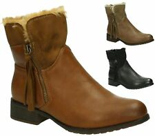 LADIES WOMENS FAUX LEATHER / SUEDE ZIP FUR LINED ANKLE BOOTS SHOES SIZE 3-8 UK